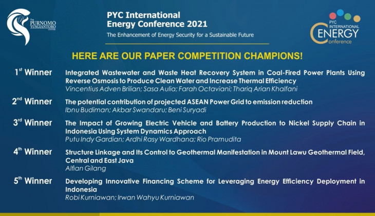 Tim Mahasiswa UGM Juara 1 Paper Competition - Purnomo Yusgiantoro Center (PYC) International Energy Conference 2021