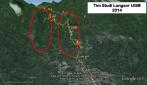 Daerah potensi terjadinya longsor(lingkaran merah) di sepanjang jalur Manado-Tomohon pemicu banjir bandang yang mengancam Kota Madado Bagian Barat-Tengah