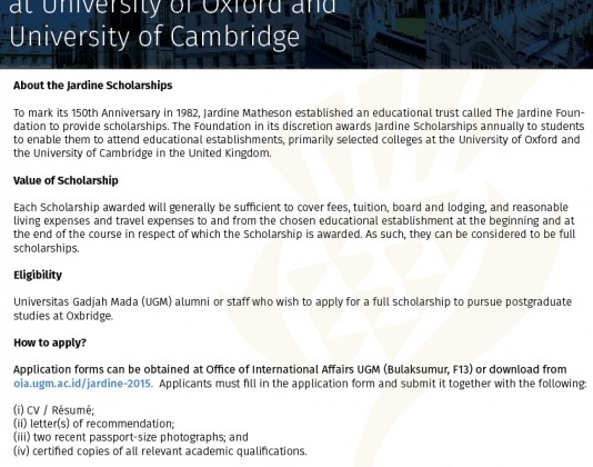 Universitas Gadjah Mada Jardine Foundation Scholarship For