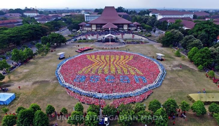 Universitas Gadjah Mada Mahasiwa Ugm Bentuk Formasi Logo Asean Gambar