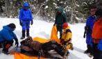 Latihan penyelamatan membawa tubuh korban. (foto: dok.pribadi)