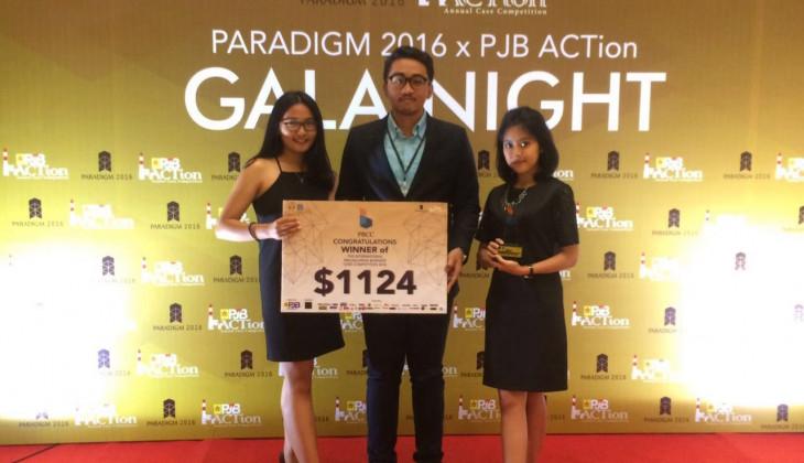 Tim beranggotakan Audita Rizqina Amalia, Made Devina Veda Kanthicha, dan Benedict Mulyono Irawan yang meraih juara pertama